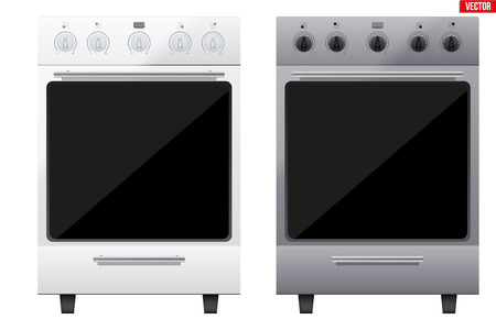 Set of Classic Kitchen Stove. Gas or Electric Range Cooker. Front View. Domestic equipment and Kitchen appliance. Vector Illustration isolated on white background. Vettoriali
