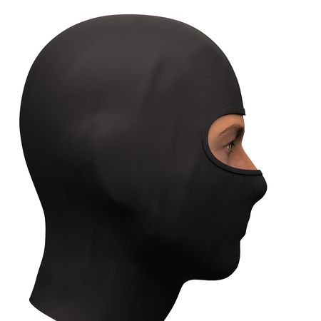 Balaclava mask. Symbol of criminal and hacker. Also Equipment for special forces or winter sport. Warm fabric material. Side view. 3D render illustration Isolated on white background.