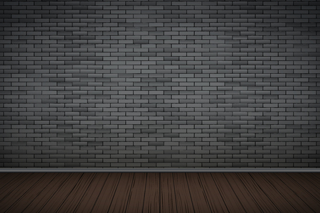 Interior of Black brick wall and wooden floor. Vintage Dark room and fashion interior. Grunge Industrial Texture. Background of loft and trendy showroom or cafe. Vector Illustration. Illusztráció