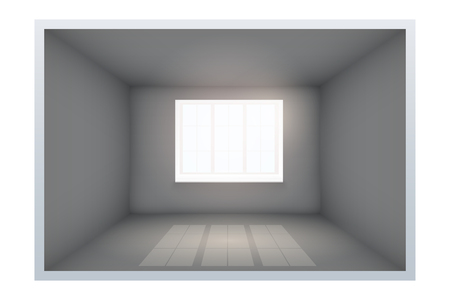Example of an empty dark room with black walls and window. Simple interior without furnish and furniture. Sunlight falls from the window to the floor. Vector.
