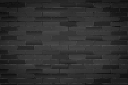 Texture of Black brick wall. Closeup view. Dark Vintage Rural room and fashion interior. Grunge Industrial Background. Vector Illustration. 矢量图像