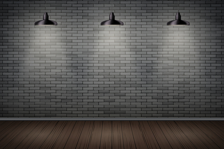 Interior of prison with black brick wall and vintage pedant lamps. Vintage jail and prison cell. Concept design for quest rooms and games. Editable Vector Illustration.