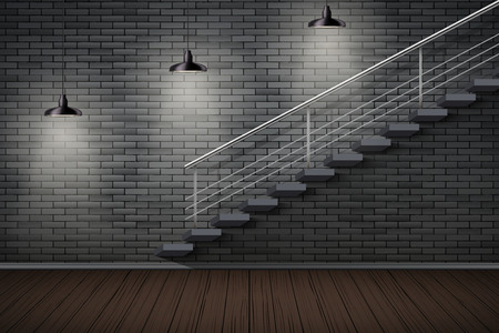 Dark brick wall and staircase. Prison or loft interior with cone pedant lamps. Vintage jail and prison cell. Concept design for quest rooms and escape games. Vector Illustration.