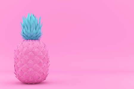 Painted Pink and Blue Pinapple on Pink Background. Modern Fashion Design in Minimal Style. Vivid and Pastel color. 3D render Illustration