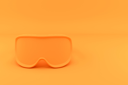 Winter Goggles in one tone color. Front view. Modern Sport Design in Minimal Style. Monochromatic orange and Trendy duotone effect. 3D render Illustration.