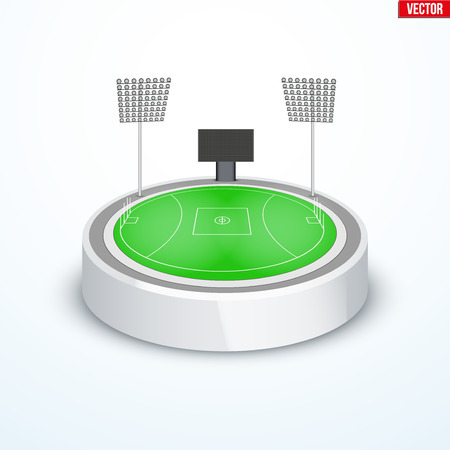 Concept of miniature round tabletop Australian rules football stadium. In three-dimensional space. Vector illustration isolated on background.