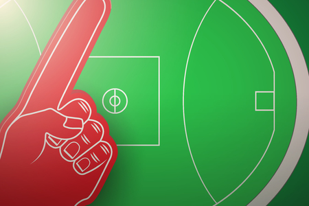 Posters of Australian rules football field and fun finger. Sports background and symbol. Space for text. Vector Illustration.