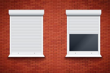 Set di tapparelle finestra sul muro di mattoni rossi. Apparecchiature di sistema protette chiuse e aperte. Colore bianco. Illustrazione vettoriale isolato su sfondo. Vettoriali