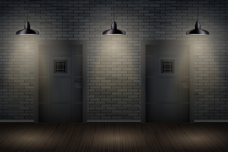 Gevangenisinterieur met metalen gevangenisceldeuren en pedantlampen. Vintage gevangenis en gevangeniscel. Conceptontwerp voor speurtochten en ontsnappingsspellen. Vector illustratie Vector Illustratie
