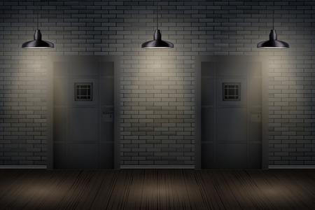 Wnętrze więzienia z metalowymi drzwiami celi więziennej i lampami pedantowymi. Vintage więzienie i cela więzienna. Projekt koncepcyjny pokojów zadań i gier ucieczki. Ilustracja wektorowa. Ilustracje wektorowe