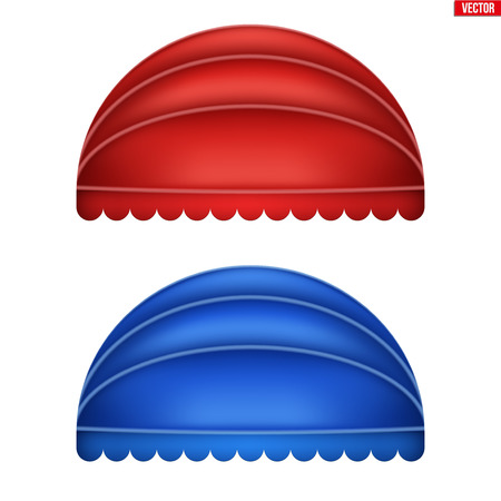 Set of sphere fabric awnings. Solar shade screens and retractable awnings. Red and blue color. Vector illustration isolated on background.