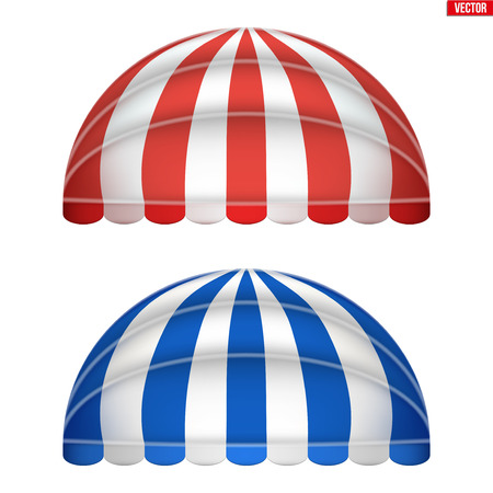 Set of sphere fabric awnings. Solar shade screens and retractable awnings. Red and blue strip color. Vector illustration isolated on background.