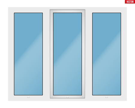 Metal plastic PVC window with three sash and one opening casement. Outdoor view. Presentation of models and frame installation. White color. Sample Vector Illustration isolated on white background. Standard-Bild - 105598559