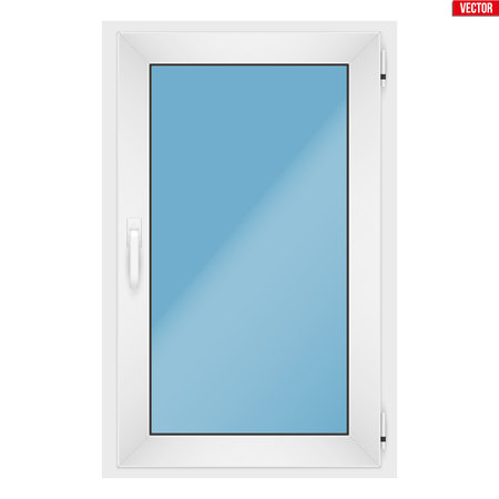 Metal plastic PVC window with one sash and one opening casement. Indoor view. Presentation of models and frame installation. White color. Sample Vector Illustration isolated on white background.