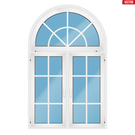 Metal plastic PVC window with three sash and arch and opening casements. Indoor view. Models and frame installation. White color. Sample Vector Illustration isolated on white background.