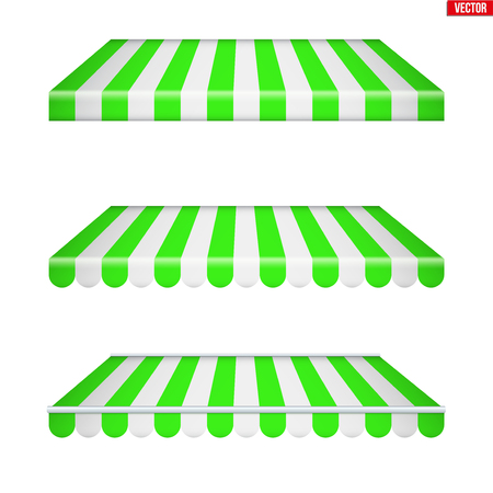 Set of rectangular fabric awnings. Solar shade screens and retractable awnings. Green strip color. Vector illustration isolated on background.