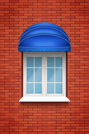 Metal plastic PVC arch window with fabric awning in brick wall. Outdoor view. Models and frame installation. White color. Sample Vector Illustration 向量圖像
