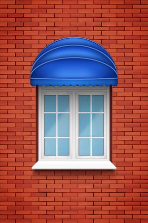 Ventana de arco de PVC de plástico metálico con toldo de tela en pared de ladrillo. Vista exterior. Modelos y montaje de marcos. El color blanco. Ilustración de vector de muestra Ilustración de vector