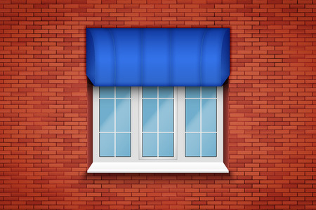 Metal plastic PVC window with fabric awning in brick wall. Outdoor view. Models and frame installation. White color. Sample Vector Illustration