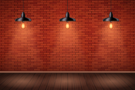 Interior de pared de ladrillo rojo con lámparas colgantes vintage y piso de madera. Interior de moda. Textura Industrial Grunge. Fondo de loft y sala de exposiciones de moda o cafetería. Ilustración vectorial Ilustración de vector