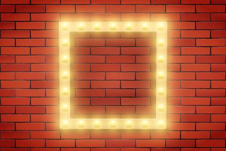 Frame of Retro light bulb on brick wall. Square frame and Volumetric light. Advertising design of signboard. Vector Illustration