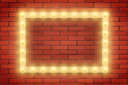 Frame of Retro light bulb on brick wall. Rectangle frame and Volumetric light. Advertising design of signboard. Vector Illustration