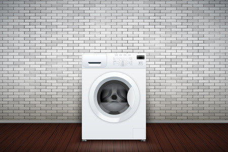 Laundry room interior with washing machine on brick wall background. The concept of modern equipment for home laundry and household appliances. Vector Illustration
