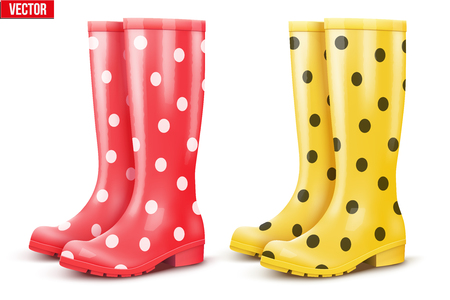 Set of rubber rain boots. Fashion Symbol of garden wok or autumn and bad weather. Read and yellow color with dots. Vector illustration Isolated on white background. Illustration