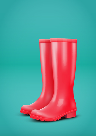 Red rubber rain boots on blue background. Fashion Symbol of autumn season. Poster for magazine and shop sale advertise. Vector illustration