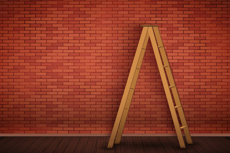 Red brick wall with wooden ladder. The concept of an interior ready for repair and painting walls. Vector Illustration. Illusztráció