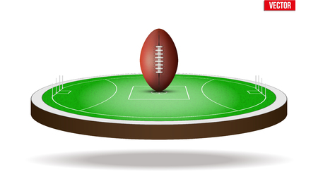 Icon of Australian rules football field stadium with ball. Vector illustration isolated on background.