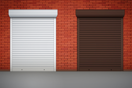Set of Closed Roller Shutters Gate on red brick wall. Protect System Equipment. White and Brown color. Vector Illustration