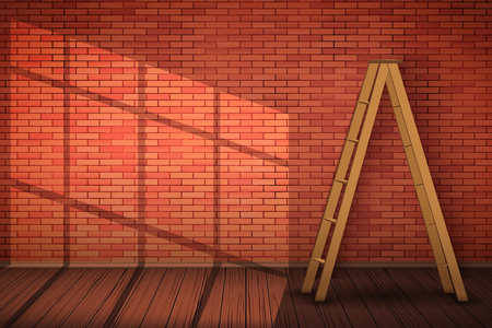 Red brick wall with wooden ladder and sunlight. The concept of an interior ready for repair and painting walls. Vector Illustration.