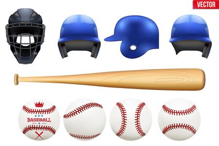 Big set of baseball equipment. Batter and catcher helmets. Bat and balls. Sport Vector Illustration isolated on white background