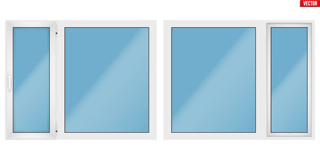 Set of Metal plastic PVC window with two sash and one opening casement. Indoor and Outdoor view. Presentation of models and frame installation. Vector Illustration isolated on white background.
