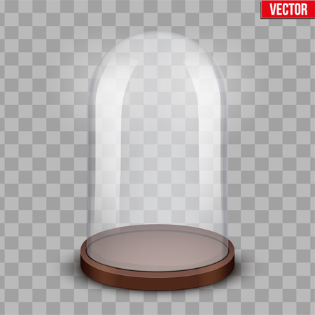 Glass dome. Platform for showing your product or idea. Classic shape. Vector Illustration isolated on transparent background.