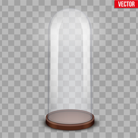 Glass dome. Platform for showing your product or idea. Long shape. Vector Illustration isolated on transparent background.