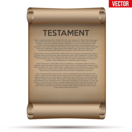 Altes gescrolltes Papier mit testamentarischem Text. Konzept der Erbschaftsteilung. Vektorabbildung getrennt auf weißem Hintergrund.