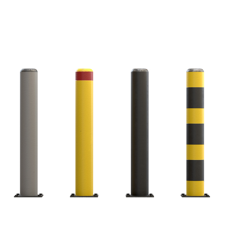 Urban street bollards isolated on white background. Stainless steel and painted in black and yellow. City construction architecture. Barrier for sidewalk and road 3D render Illustration Stockfoto