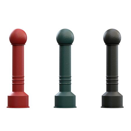 Urban street bollards isolated on white background. Stainless steel and painted in black and red. City construction architecture. Barrier for sidewalk and road 3D render Illustration