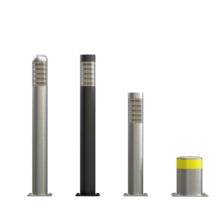 Urban street bollards isolated on white background. Stainless steel with night backlight. City construction architecture. Barrier for sidewalk and road 3D render Illustration