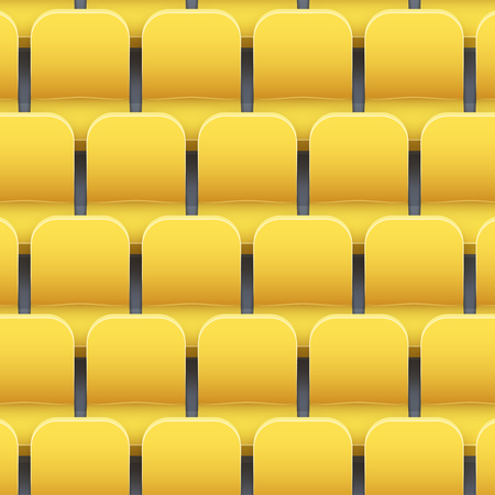 Background of yellow plastic stadium seats on sport arena and stadium. Vector illustration Banco de Imagens