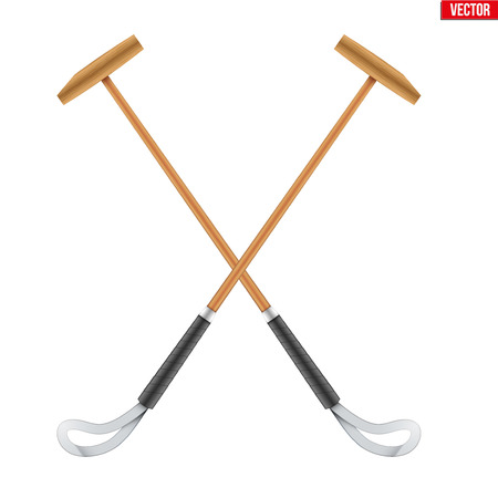 Polo mallet. Wood mallet equipment for horserider. Symbol of polo sport game. Vector illustration isolated on background. Stock Photo
