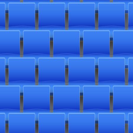 Background of blue plastic stadium seats on sport arena and stadium. Vector illustration