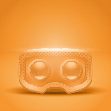 Original stereoscopic 3d vr headset presentation. Inside view on orange background. Vector illustration