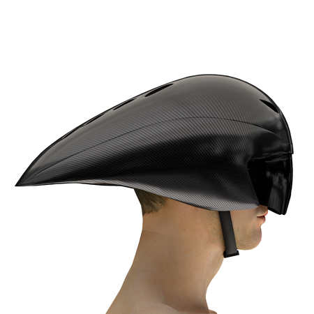 Athlete head with Time trial bicycle carbon helmet and goggles. Side view. Equipment of Road bicycle racing. 3D render Illustration isolated on a white background.