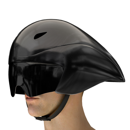 Athlete head with Time trial bicycle carbon helmet and goggles. Perspective view. Equipment of Road bicycle racing. 3D render Illustration isolated on a white background.