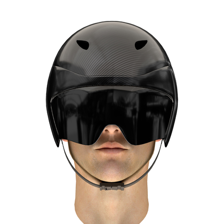 Athlete head with Time trial bicycle carbon helmet and goggles. Front view. Equipment of Road bicycle racing. 3D render Illustration isolated on a white background. Stock Photo