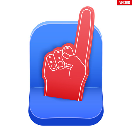 Plastic stadium seat and fan foam finger. The concept of the fan zone and the sale of tickets for the match. Sport arena and stadium. Vector illustration isolated on white background