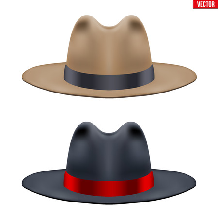 Set of Classic Gentlemen Hat. Black and Brown color with ribbon. Retro Accessory for beauty stylish man. Vector Illustration Isolated on white background.